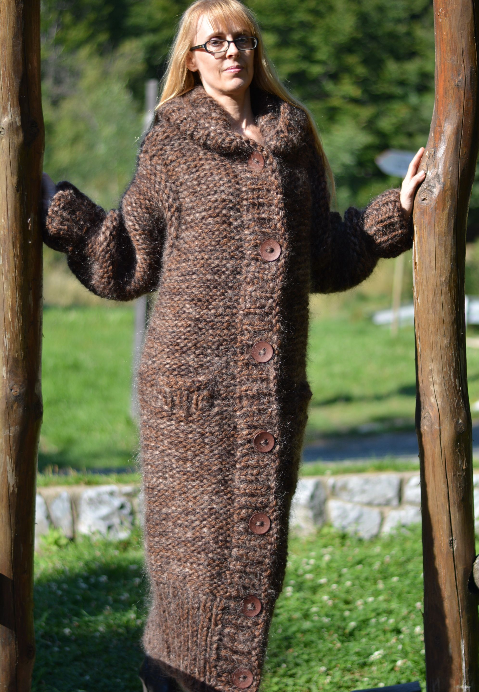 Full length chunky wool mohair coat in brown by Dukyana | Dukyana ...