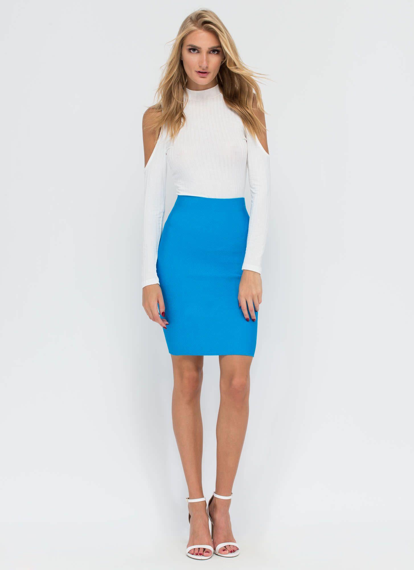 Tassel Knee Length Bandage Skirt Knitted Sweet Designer