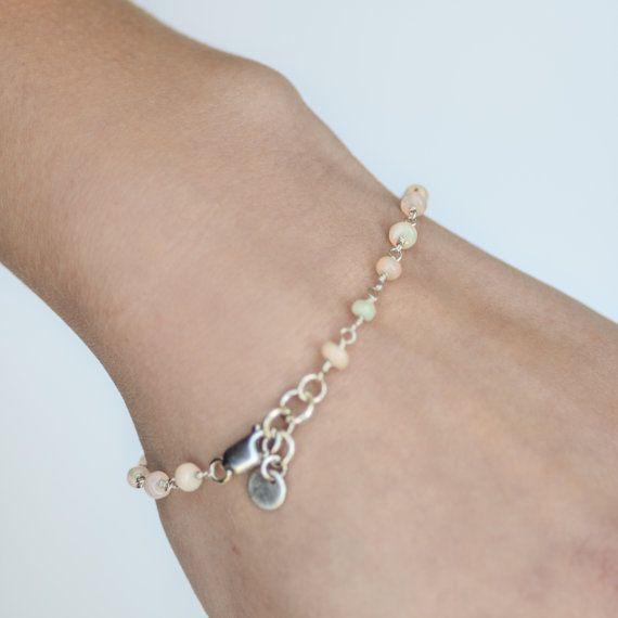 Ethiopian Opal Silver Bracelet  with Toggle clasp.  by LuxBijou, $32.00