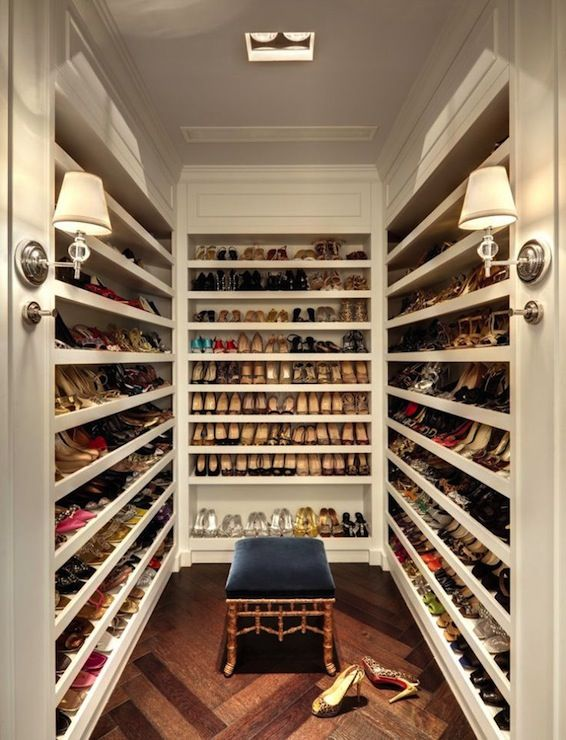 Amazing Closet Dedicated To Just Shoes Walk In Shoe Features Floor Ceiling Shelves For Accented With Robert Abbey Muse Sconces As Well