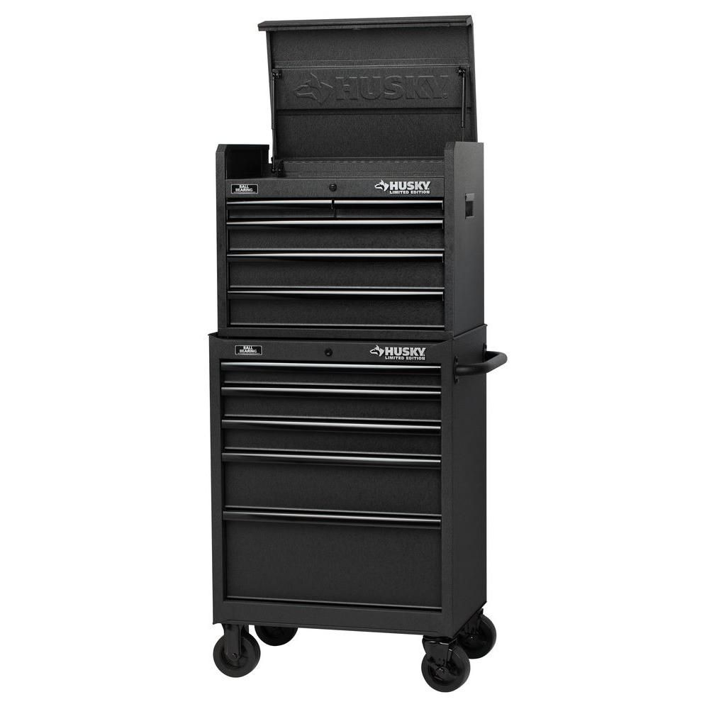 Husky Tool Cart >> Husky 27 In 10 Drawer Tool Chest And Cabinet Set Textured