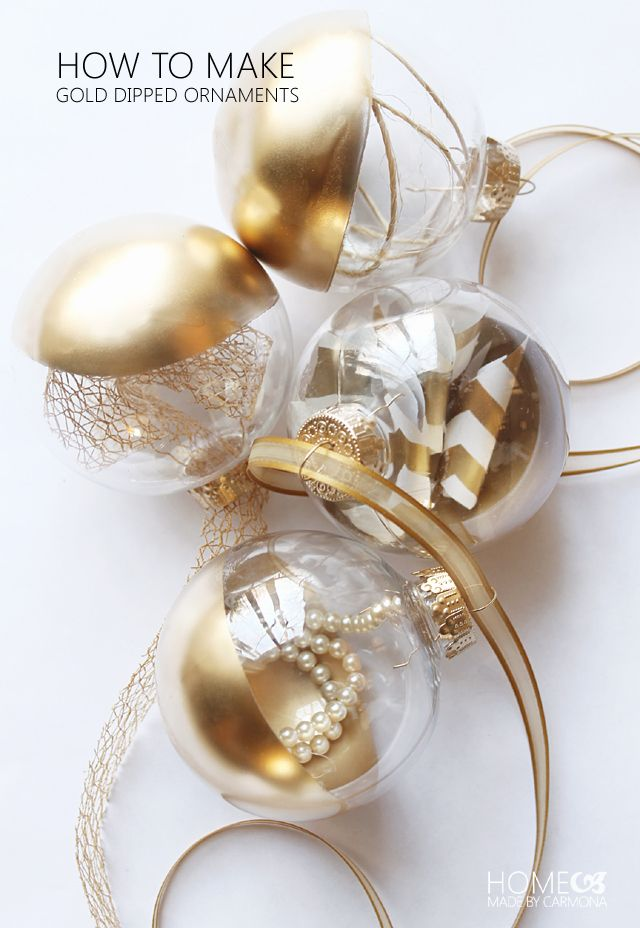 Elegant Gold Dipped Ornaments Home Made By Carmona Gold Christmas Decorations Gold Christmas Decorating With Christmas Lights