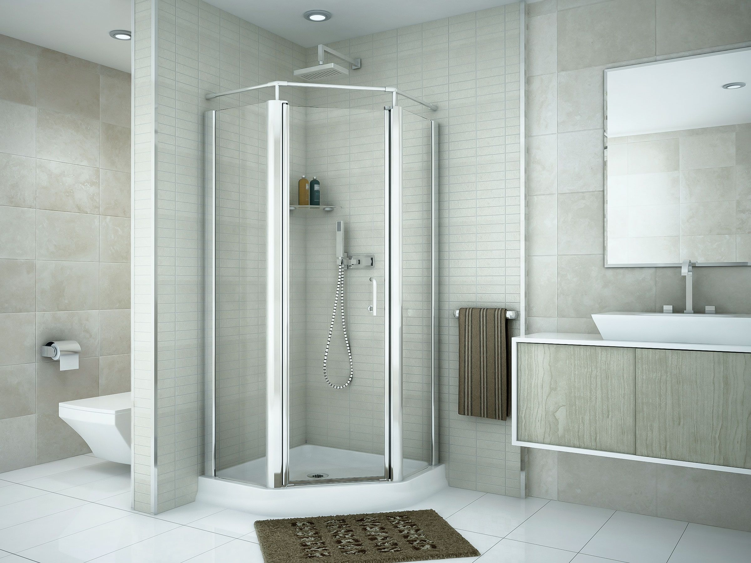 This 22636CHCL neo angle centralentry shower door is