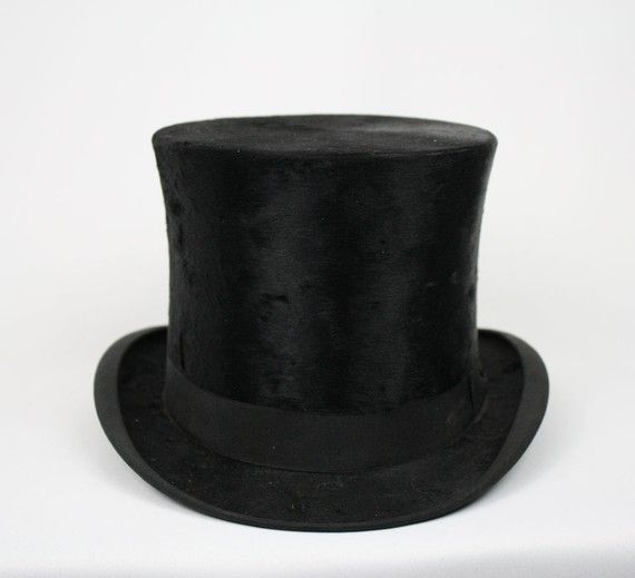 1910 S 20 S Vintage Mens Black Beaver Fur Deco Top Hat Top Hat All Black Fashion Hats Vintage