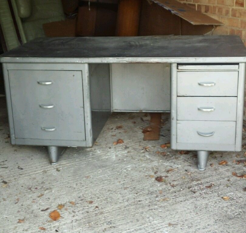 Vintage Retro 50s Industrial Steel Desk Ebay