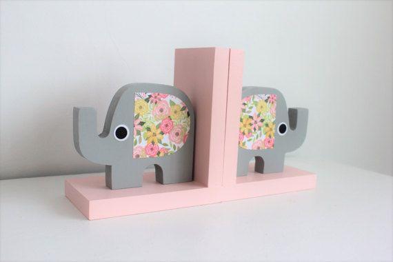 Elephant Bookends Elephant Nursery Elephant Kids Decor Rose Elephant Bookends Elephant Nursery Bookends