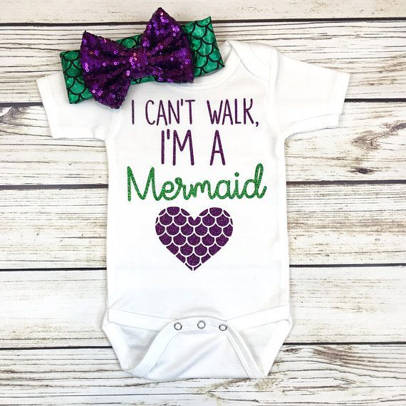 I Can't Walk, I'm a Mermaid Baby Girl Bodysuit Outfit Summer 3