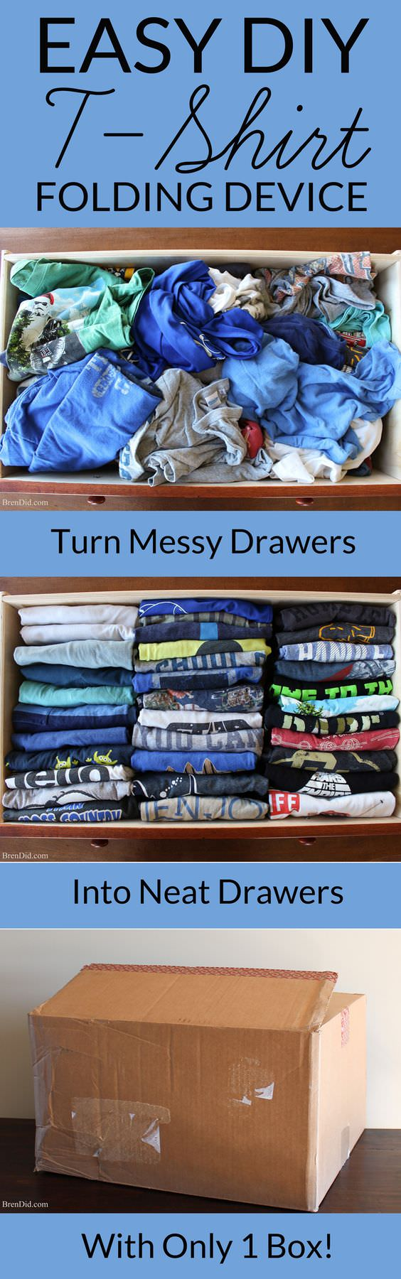 make an easy diy t shirt folding device from a cardboard box best of home and garden pinterest. Black Bedroom Furniture Sets. Home Design Ideas