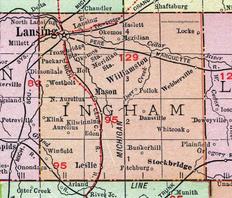 Ingham County, Michigan, 1911, Map, Rand McNally, Lansing, Okemos ...