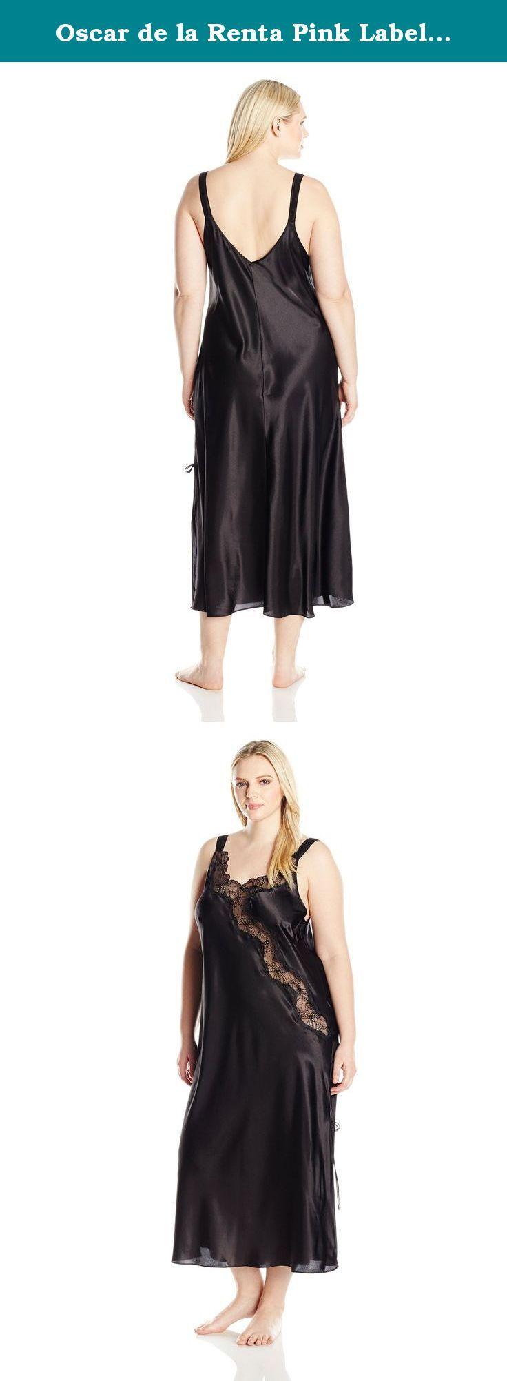 d50c4b4b26 Oscar de la Renta Pink Label Women s Plus Size Silky Charmuse with Lace  Long Gown
