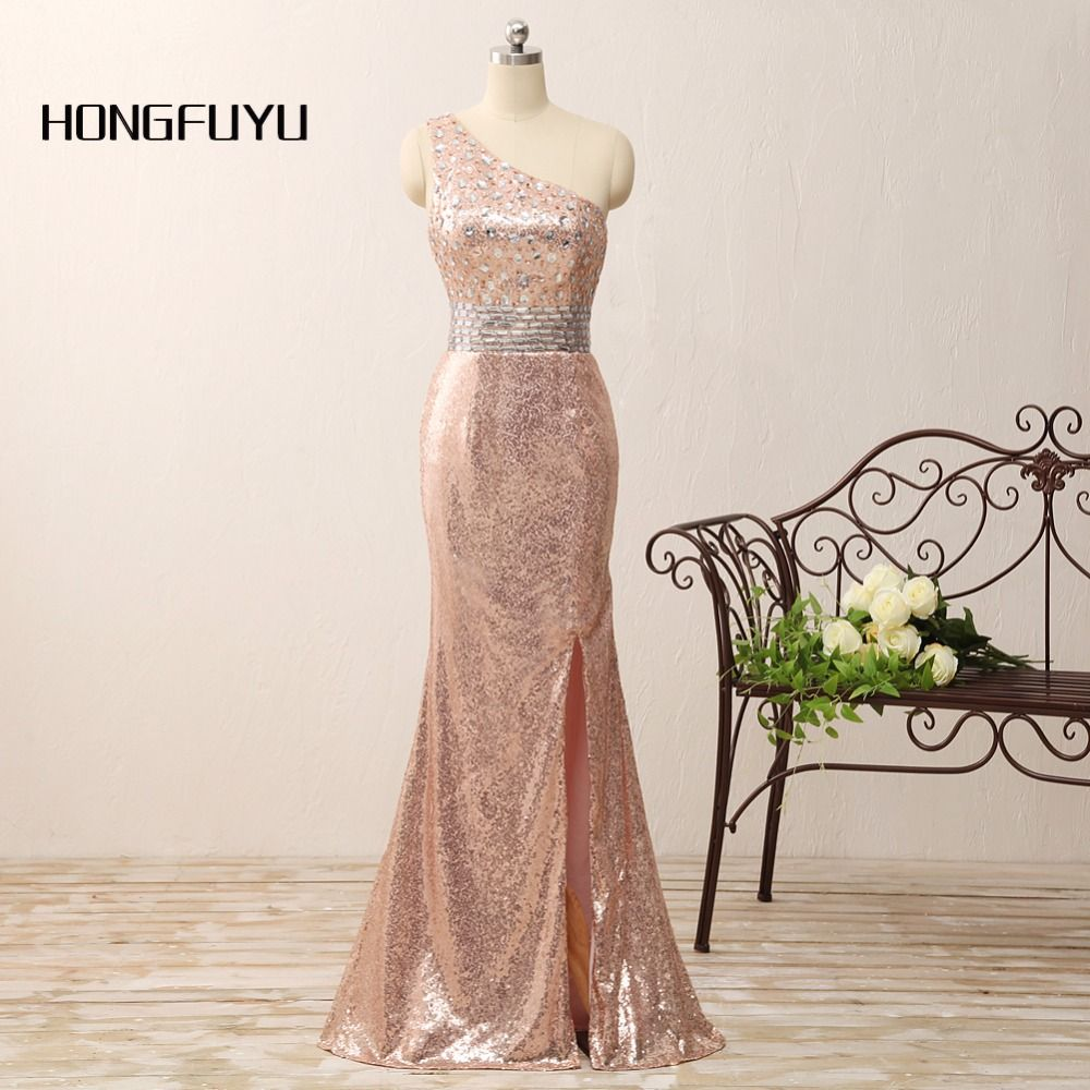 bling bling pink prom dress backless one-shoulder sequin mermaid