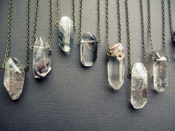 Natural Clear Chakra Gemstone Healing Quartz Crystal Pendant Necklace Jewelry