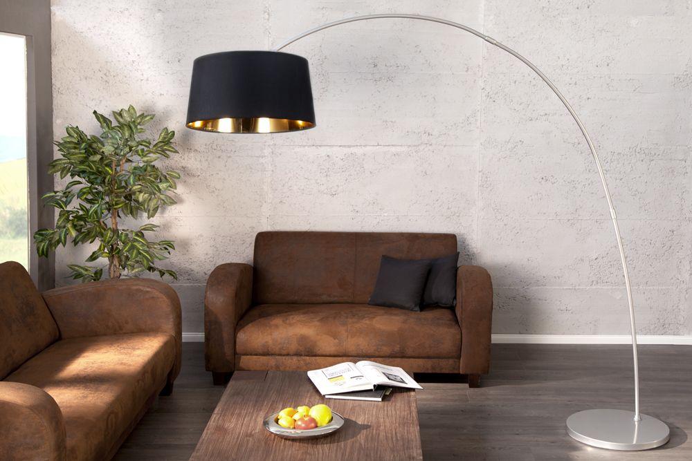 Wohnzimmer Stehleuchte ~ Design stehleuchte forma schwarz gold bogenlampe bei riess