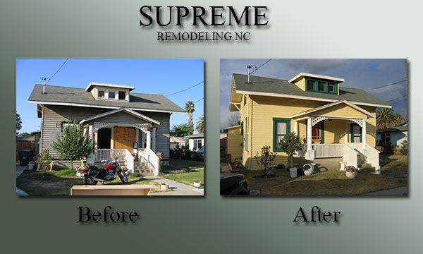 Before and after of a historic home exterior renovation