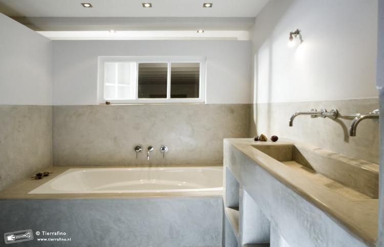 Cement Afwerking Badkamer : Moderne tadelakt afwerking bathroom