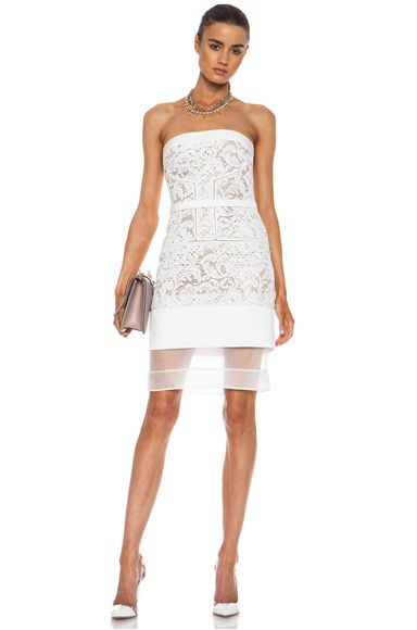 J. Mendel|Floral Mixed Lace Knit Dress in Nuage