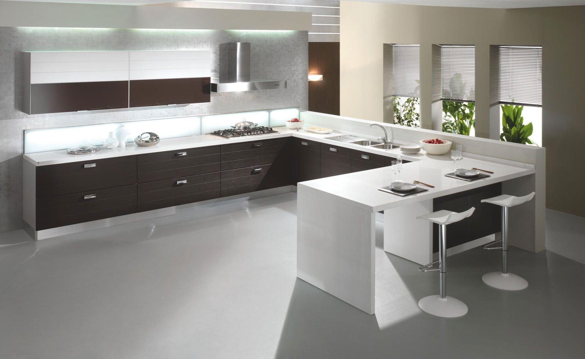 Concept Cucina Moderna Con Isola E Mobili Wenge Interior Design : Cucine moderne bianche e grigie va regardsdefemmes