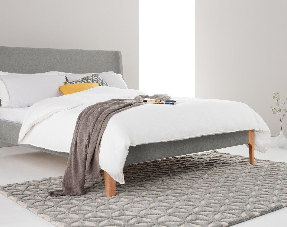 Roscoe King Size Bed Cool Grey Grey Upholstered Bed Super King