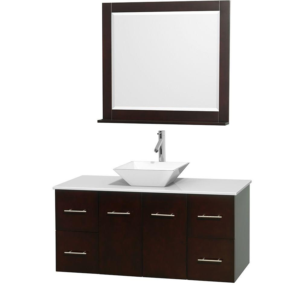 Wyndham Collection Centra 48 in. Vanity in Espresso with Solid-Surface Vanity Top in White, Porcelain Sink and 36 in. Mirror