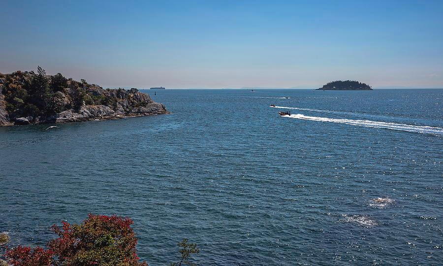 North America Photograph - Rocky Beach In Burrard Inlet by Alex Lyubar #AlexLyubarFineArtPhotography#VancouverCanada#SeaScape#WhyteCliffPark#BlueWater#BlueSky#RockyIslands#MotorBoats#Speed#ArtForHome#HomeDecor#ArtPrintForSale
