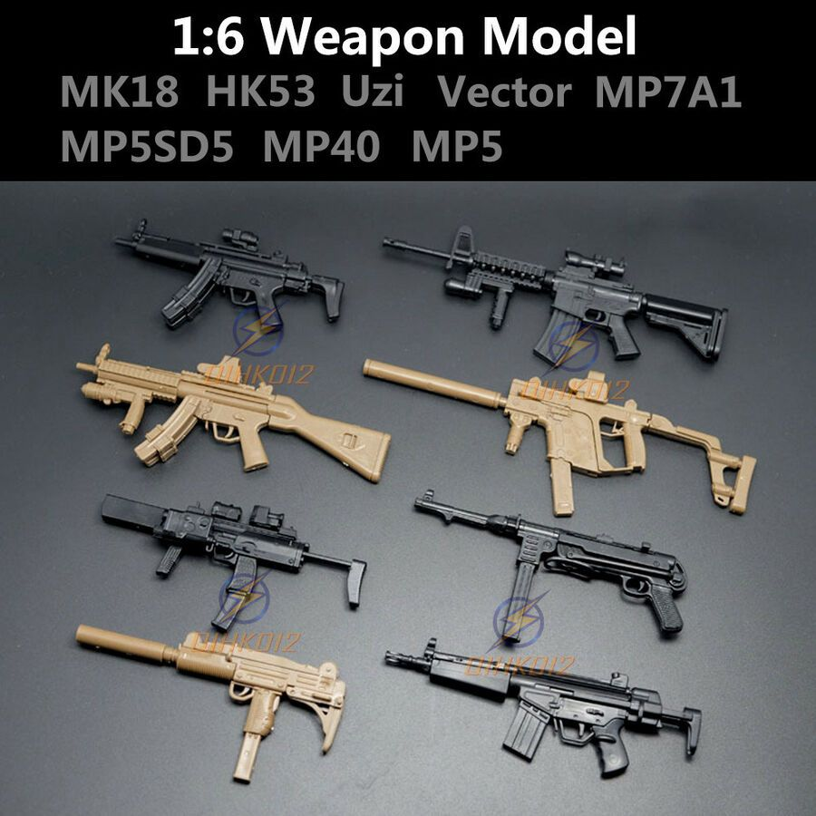 """1//6 Scale MP5SD5 Submachine Gun For 12/"""" Action Figure Rifle Model Weapon Soldier"""