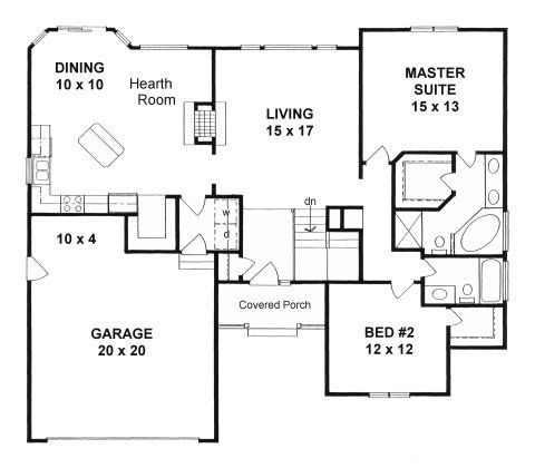 Plan 1400 2 Bedroom Ranch W Hearth Room And Walk In Pantry Bedroom House Plans Guest Bedroom Remodel Small Bedroom Remodel