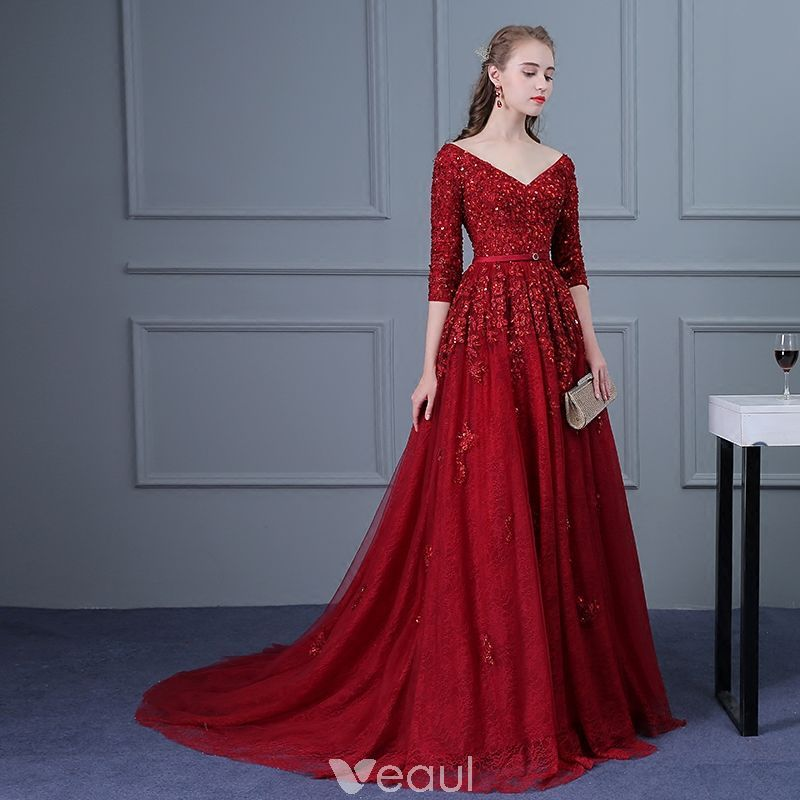 d1c5570563fb93 Chic   Beautiful Burgundy Evening Dresses 2018 Empire V-Neck 3 4 Sleeve  Sequins Beading Sash Court Train Ruffle Backless Formal Dresses