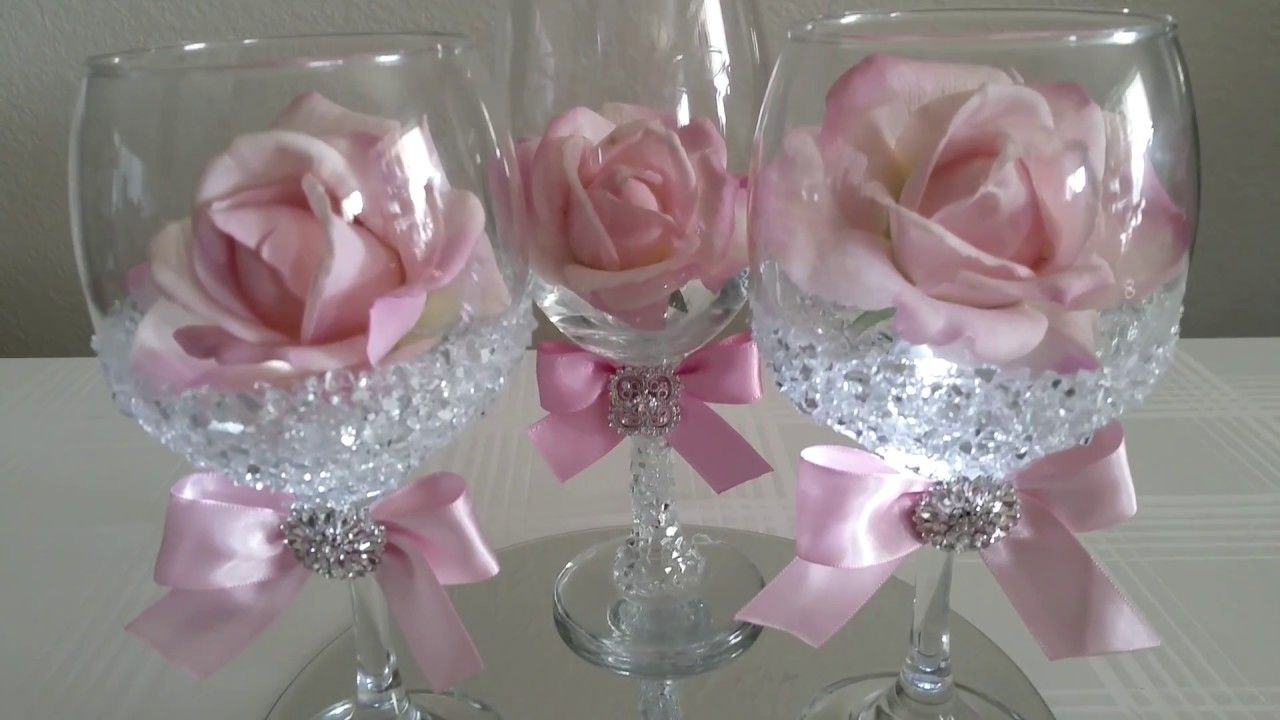 Diy light bling dollar tree wine glass rose decor
