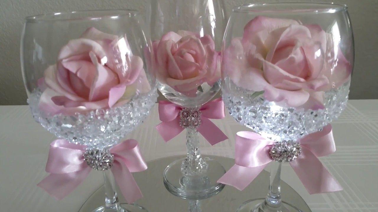 Diy Light Bling Dollar Tree Wine Glass Rose Decor 2017