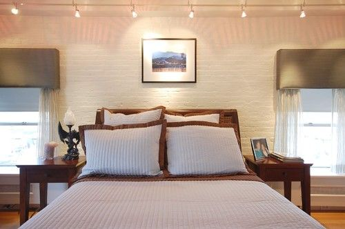 Painted brick love the track lighting above bed my room - Track lighting ideas for bedroom ...
