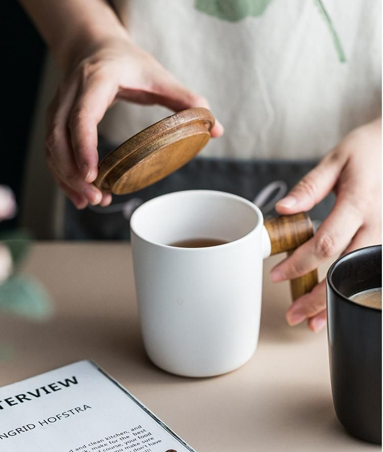 Nordic Coffee Cup Ceramic With Wooden Handle Cover Scandinavian Retro Design Coffee Mug Gift Box Set For Coffee Lovers In 2020 Coffee Cups Wooden Handles