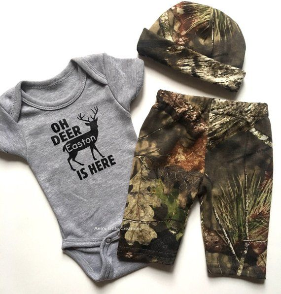 Photo of Mossy Oak, RealTree Baby Boy Newborn Take Home Outfit, Camo Baby Boy, Newborn Outfit Deer, Oh Deer, Camo Gift Set 3pc w/ Name