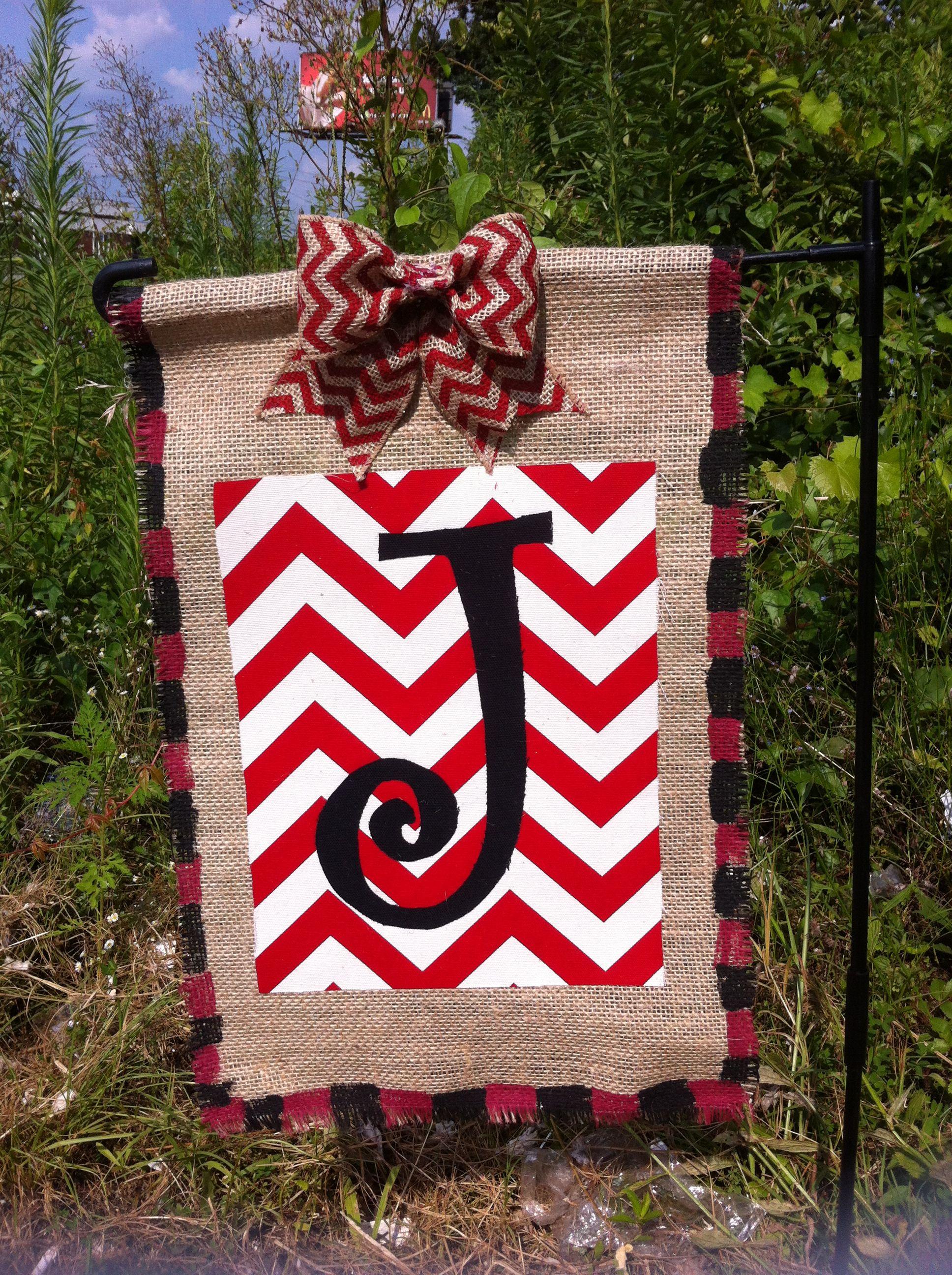 Burlap Chevron Fabric And Paint - Garden Flag Door