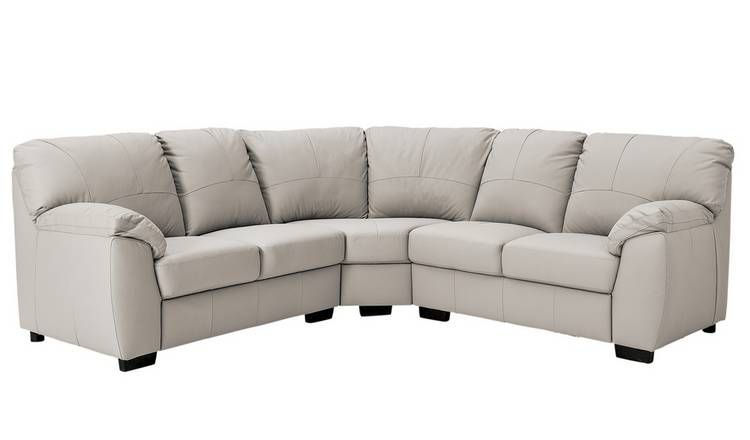 Buy Argos Home Milano Corner Leather Sofa Light Grey Sofas Argos Grey Sofa Design Argos Home Leather Sofa