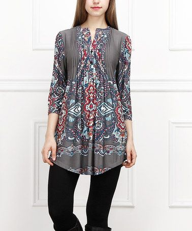 a693872af59 This Charcoal & Red Paisley Notch Neck Tunic by Reborn Collection is  perfect! #zulilyfinds