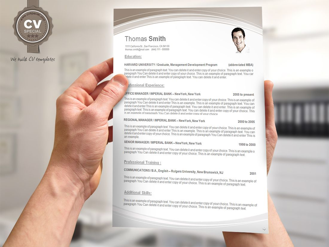CV / Resume Templates  Modern Resume Template Word
