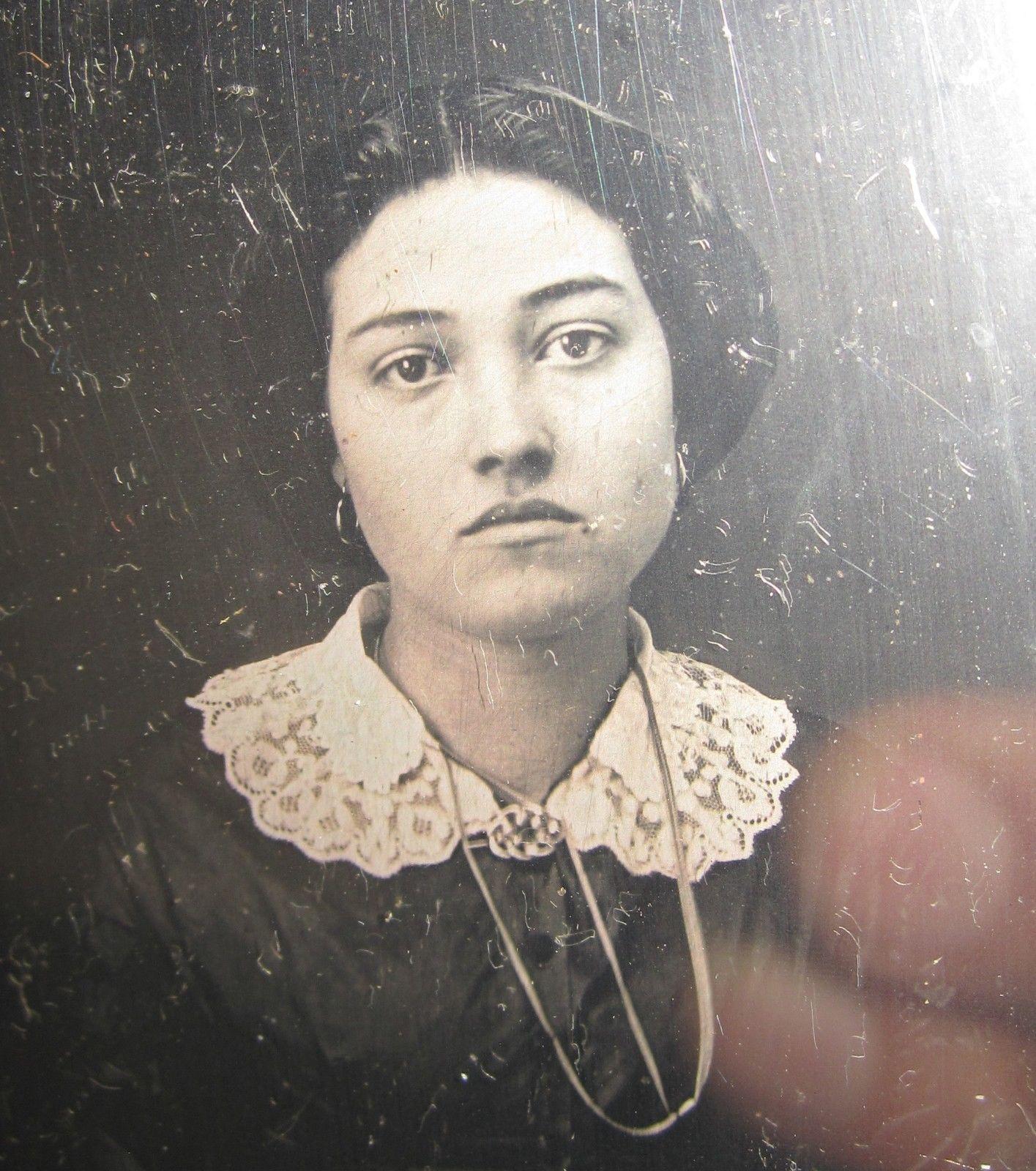 Antique American Beauty Daguerreotype Ethnic Young Lady Dark Raven Eyes Photo | eBay