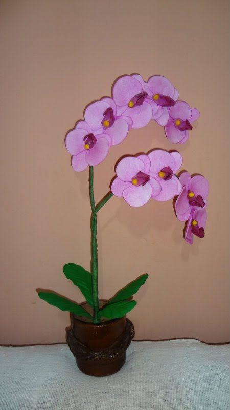 Aparador Movel Branco ~ Artesanato Flores em EVA ORQU u00cdDEA (Phalaenopsis) Enfeites E V A Pinterest Flores em eva