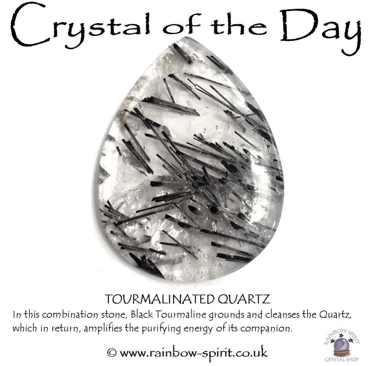 Tourmalinated Quartz, one of my crystal healing posters
