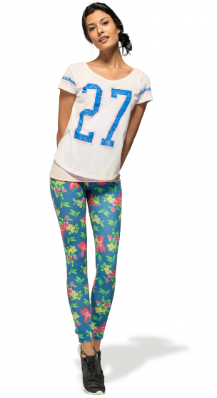 SS14 - Franklin & Marshall - Woman's Look - Add a touch of style to your sporty look. #outfit #summer #flower #leggings #sportylook