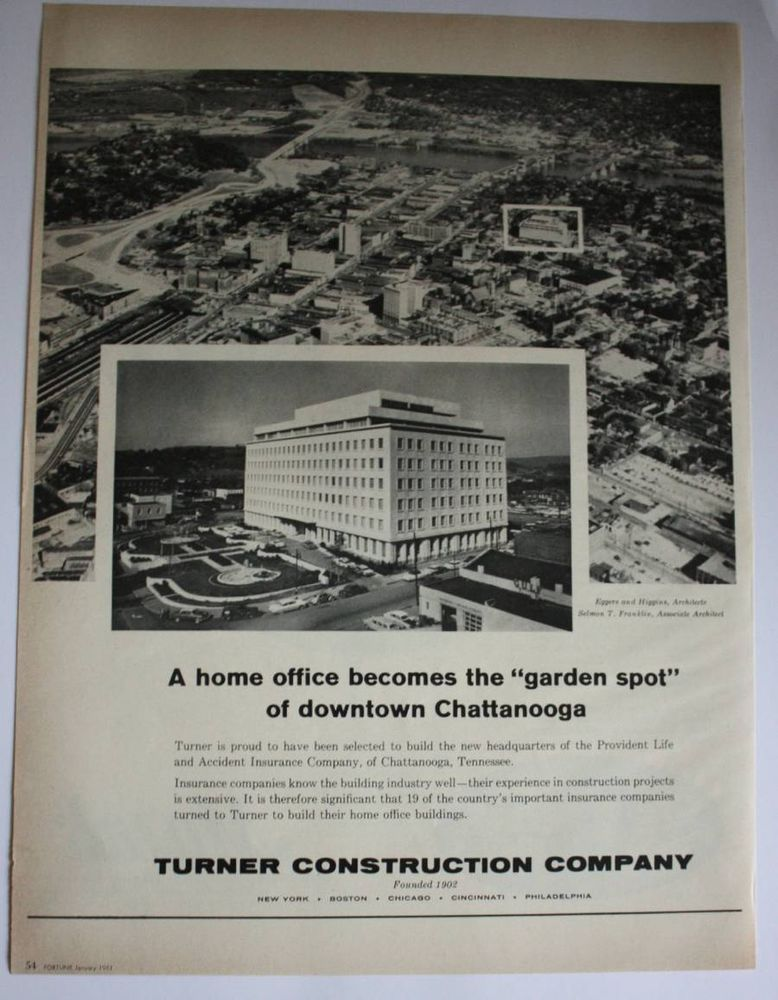 1961 Turner Construction Co Downtown Chattanooga Tennessee Photo