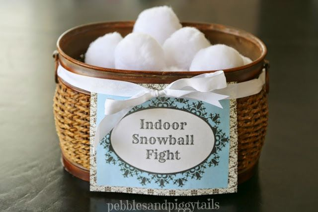 Indoor Snowball Fight Kit Ideas and Free Printables.  Easy to make, DIY Indoor Snowball game plus free printable tags and You're Never Too Old for a Snowball Fight Printable saying.  Too cute!