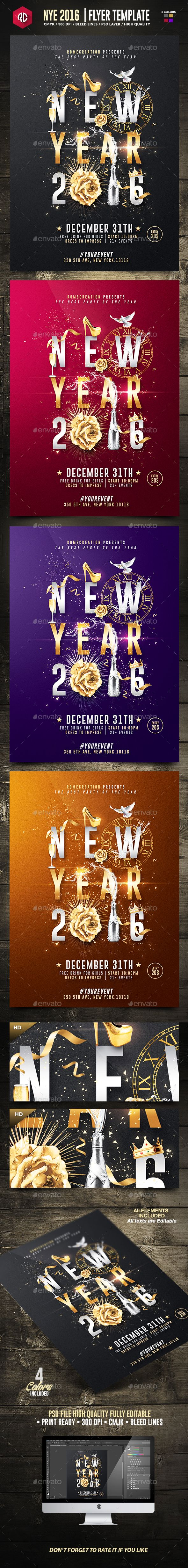 New year 2016 psd poster template curtidas new year 2016 psd poster template print templates toneelgroepblik Gallery