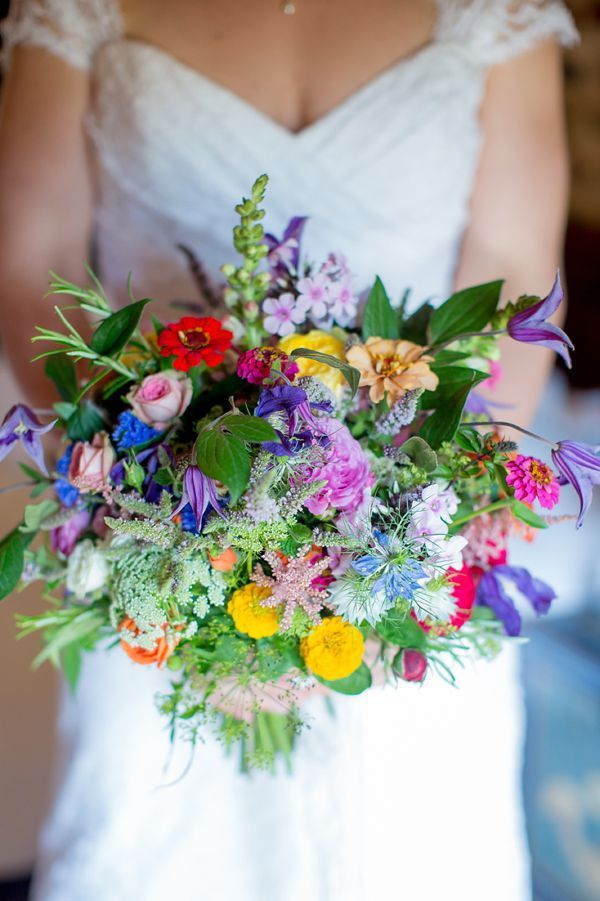 Rustic Wild Flower Colourful Wedding Bouqet Via A Homemade And Meadow Summer