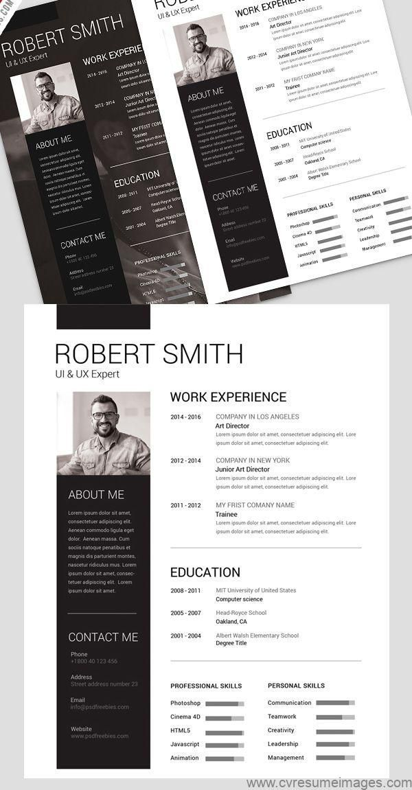 Simple and Clean Resume Free PSD Template | Lebenslauf ...