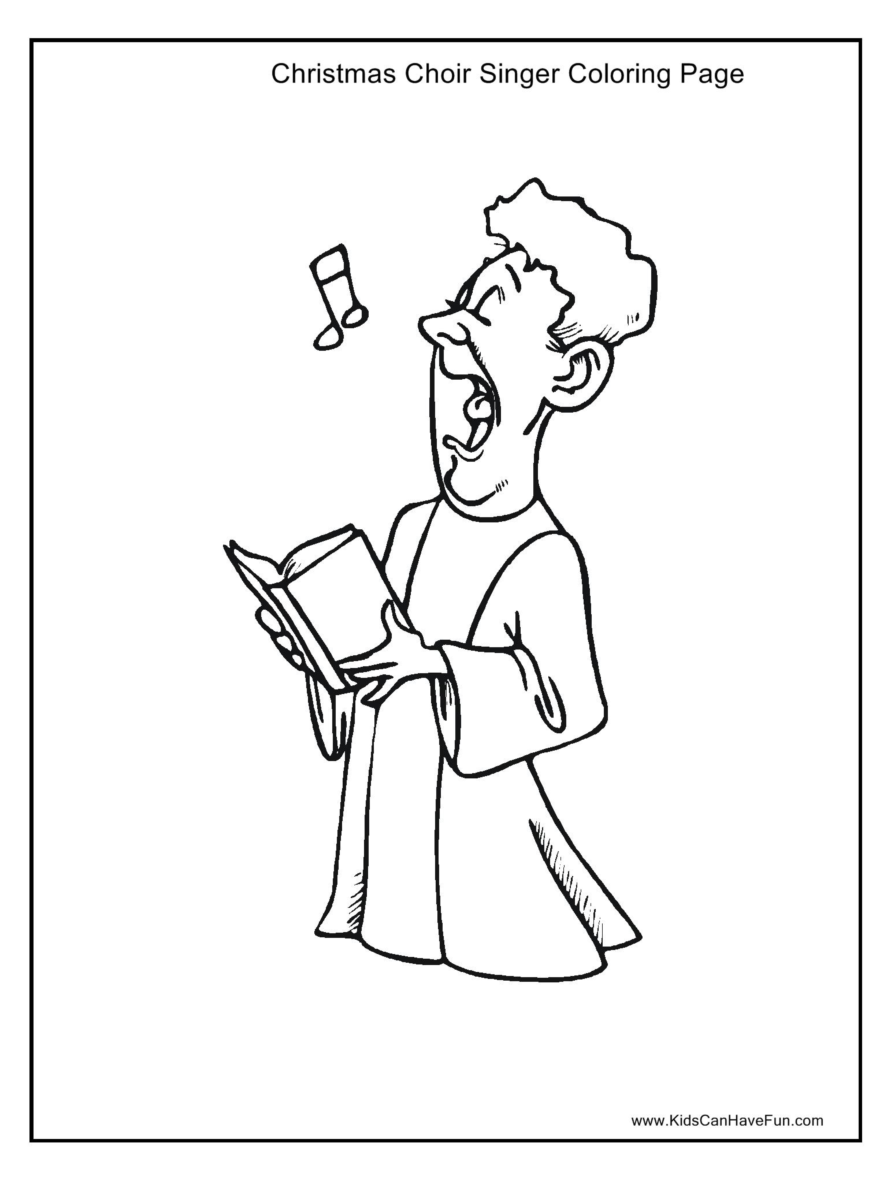 Christmas Choir Singer Coloring Page