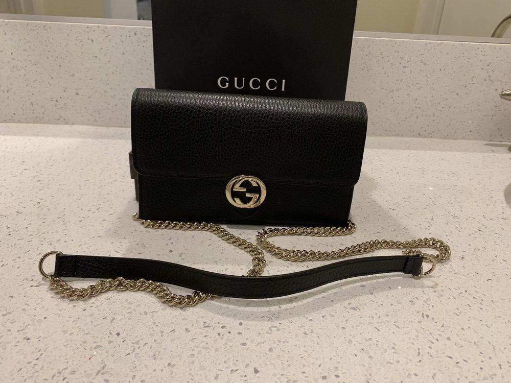 46affd166d6 100% Authentic Gucci Black Wallet Crossbody Clutch Interlocking GG ...