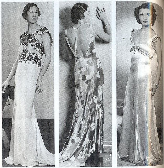 Bias cut dresses were invented by Madaline Vionet from 1920s and there are 3 kind of evening dresses became very popular in 1930s, when women want to have a feminine look,the dress were backless, and the bodices were slightly bloused, dresses length were floor-length or below the ankle. Im very interesting because we are wearing the same trend from 80 years ago and how far this time period 's designers can see