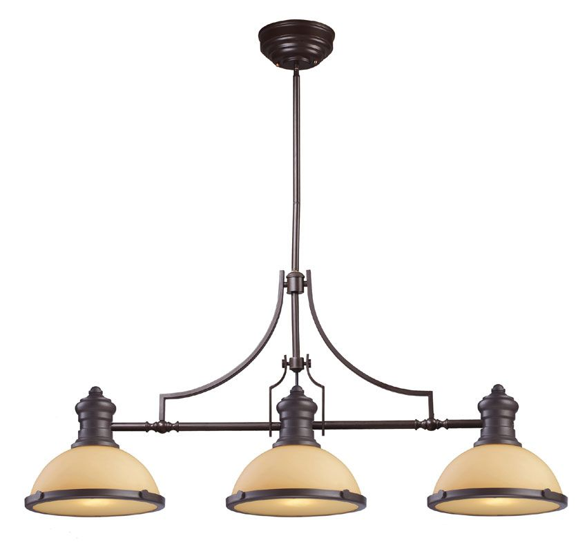 Chadwick 3 Light Pool Table Light: ELK 66235-3 Chadwick Contemporary Oiled Bronze 47 Inch