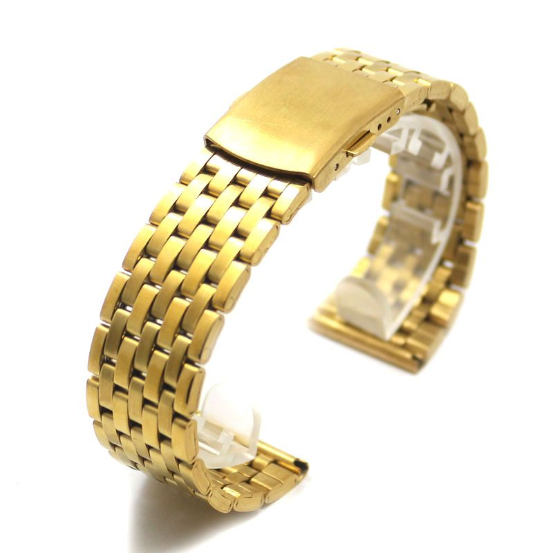 8aa62eaa49e Click to Buy    Golden 18mm Stainless Steel Wristbands Replacement ...
